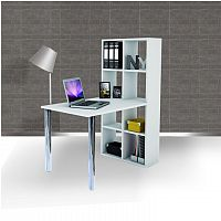 TEMPO KONDELA PC stôl, biely, BEXINTON