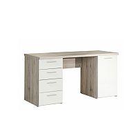 TEMPO KONDELA PC stôl, dub pieskový/biela, VALERIA
