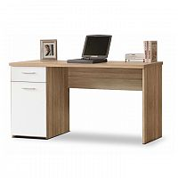 TEMPO KONDELA PC stôl, dub sonoma/biely, EGON