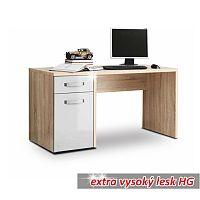 TEMPO KONDELA PC stôl, dub sonoma/biely lesk, TEODOZ