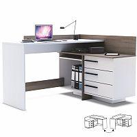TEMPO KONDELA PC stôl, Ľ/P, rohový, tmavý dub/biela, TALE 484879