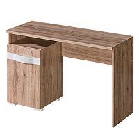 TEMPO KONDELA PC stôl, san reno / biela, ROVIN R - 11