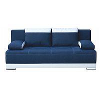 TEMPO KONDELA Pohovka rozkladacia s úložným priestorom, ekokoža biela/látka modrá, SALEM