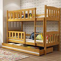 TEMPO KONDELA Poschodová drevená posteľ, sosna/jelša, 80x185 cm, ABEL 2 NEW