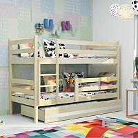 TEMPO KONDELA Poschodová drevená posteľ, sosna/prírodná, 80x190 cm, ADELA NEW