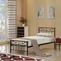 TEMPO KONDELA posteľ s lamelovým roštom, drevo čerešňa / kov, 90x200, MORENA