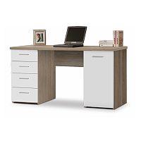 TEMPO KONDELA Praktický PC stôl vhodný pre študentov aj do kancelárií jedinečný hrúbkou vrchného plátu - až 22mm, dub sonoma/biela, EUSTACH
