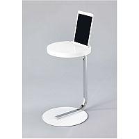 TEMPO KONDELA Príručný stolík so zárezom na tablet, MDF+kov+chróm, biely, MILANA