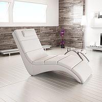 TEMPO KONDELA Relaxačné kreslo, ekokoža biela, LONG