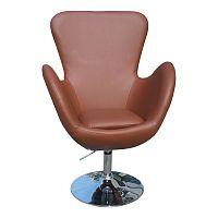 TEMPO KONDELA Relaxačné kreslo, hnedá textilná koža/chróm, OLLI