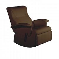 TEMPO KONDELA relaxačné kreslo, hnedá textilná koža PU, ROMELO C3