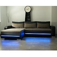 TEMPO KONDELA Rohová sedacia súprava s LED osvetlením, ľavé prevedenie, rozklad/uložný priestor, ekokoža čierna/látka Portland 23 hnedá, KODY