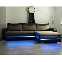 TEMPO KONDELA Rohová sedacia súprava s LED osvetlením, pravé prevedenie, rozklad/uložný priestor, ekokoža čierna/látka Portland 23 hnedá, KODY