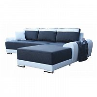 TEMPO KONDELA Rohová sedacia súprava s odkladacím vreckom, pravé prevedenie, rozklad/uložný priestor, ekokoža biela/látka savana 80 modrá, ETAN