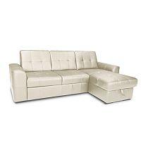 TEMPO KONDELA Rozkladacia rohová sedacia súprava s úložným priestorom, P prevedenie, koža Advantage biela, TREK MALÝ ROH