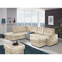 TEMPO KONDELA Rozkladacia rohová sedacia súprava v tvare U s úložným priestorom, L prevedenie, koža YAK M6901, TREK SYSTÉM U