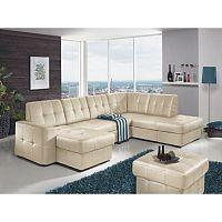 TEMPO KONDELA Rozkladacia rohová sedacia súprava v tvare U s úložným priestorom, P prevedenie, koža YAK M6901, TREK SYSTÉM U