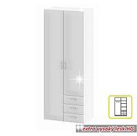 TEMPO KONDELA Skriňa, 2 -dverová, biela extra vysoký lesk HG, GWEN 70425