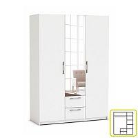 TEMPO KONDELA Skriňa, 3 - dverová s 2 zásuvkami, so zrkadlom, biela, JUPITOR 384228