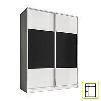 TEMPO KONDELA Skriňa dvojdverová kombinovaná, šírka 160 cm, biela/čierna, AVA