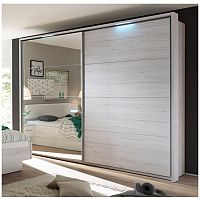 TEMPO KONDELA Skriňa s posúvnymi dverami a zrkadlom, dub biely/biela, KENTUCKY