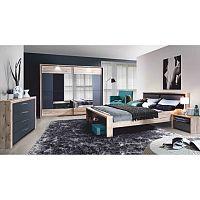TEMPO KONDELA Spálňa, skriňa+posteľ+2ks nočné stolíky, DTD fóliovaná, buk/grafitová sivá, CAIRO