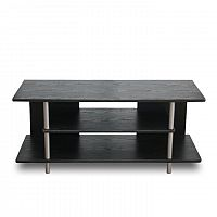 TEMPO KONDELA TV stolík, drevo čierne/kov strieborný, QUIDO