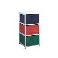TEMPO KONDELA Viacúčelová komoda s úložnými boxami z látky, biely rám/farebné boxy, COLOR 94