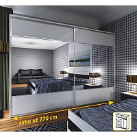 TEMPO KONDELA Zrkadlová skriňa 2 - dverová, biela / zrkadlo, NARINA