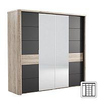 TEMPO KONDELA Zrkadlová skriňa LN02, san remo/grafit LUMPUR