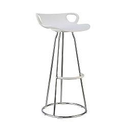 TEMPO KONDELA Barová stolička, chróm + plast, biela, GLADI