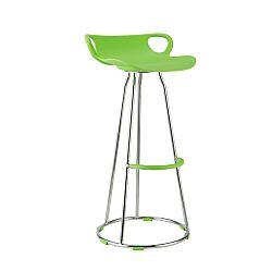 TEMPO KONDELA Barová stolička, chróm + plast, zelená, GLADI