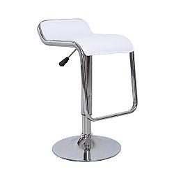TEMPO KONDELA Barová stolička, ekokoža biela/chróm, ILANA