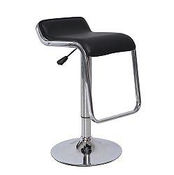 TEMPO KONDELA Barová stolička, ekokoža čierna/chróm, ILANA