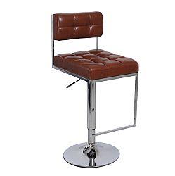 TEMPO KONDELA Barová stolička, ekokoža hnedá/chróm, GORDY