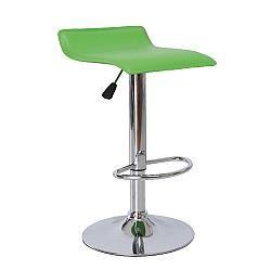TEMPO KONDELA Barová stolička, ekokoža zelená/chróm, LARIA