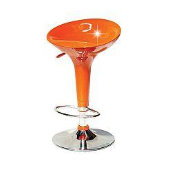 TEMPO KONDELA Barová stolička, oranžová/chróm, INGE NOVA