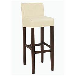 TEMPO KONDELA Barová stolička, textilná koža krémová/drevo tmavý orech, SORIN NEW