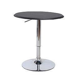 TEMPO KONDELA Barový stôl, s nastaviteľnou výškou, chróm/čierna, BRANY