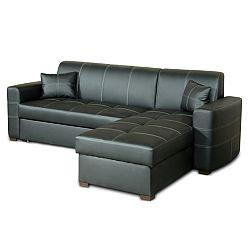 TEMPO KONDELA Celočalúnená rohová sedacia súprava, pravé prevedenie, ekokoža čierna, MAF