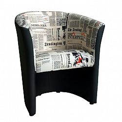 TEMPO KONDELA CUBA kreslo D-8 ekokoža čierna/látka vzor noviny