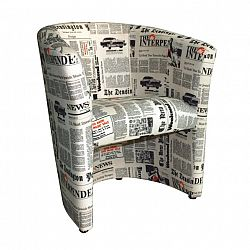 TEMPO KONDELA CUBA kreslo D-8 látka vzor noviny
