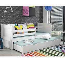 TEMPO KONDELA Drevená posteľ s úložným priestorom, biela/biela, KORI 2
