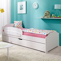TEMPO KONDELA Drevená posteľ, sosna/biela, 90x200 cm, SIERA