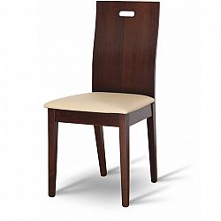 TEMPO KONDELA Drevená stolička, orech/ekokoža béžová, ABRIL