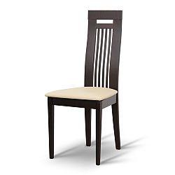 TEMPO KONDELA Drevená stolička, wenge/ekokoža béžová, EDINA