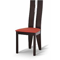 TEMPO KONDELA Drevená stolička, wenge/látka terakota, BONA
