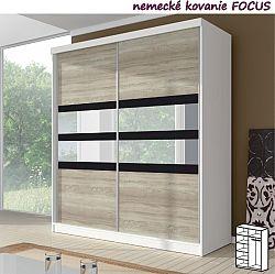TEMPO KONDELA Dvojdverová skriňa, 183x218, s posuvnými dverami, biela/čierne sklo/dub sonoma, MULTI 10