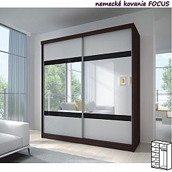 TEMPO KONDELA Dvojdverová skriňa, 183x218, s posuvnými dverami, dub cambridge/biela/zrkadlo, MULTI 2
