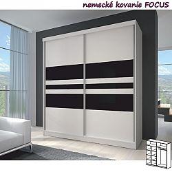 TEMPO KONDELA Dvojdverová skriňa, 203x218, s posuvnými dverami, biela/biela/čierne sklo, MULTI 11